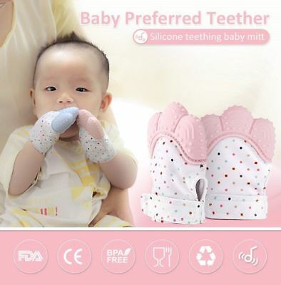 1PCS Baby Silicone Mitt Teething Mitten Teething Gloves Wrapper Sound Teether UK