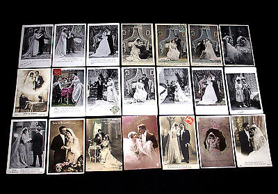 Lot D12 : 21 Cpa Couple Mariage Hymen Union Noce Femme Mariee Voile Wedding Miss