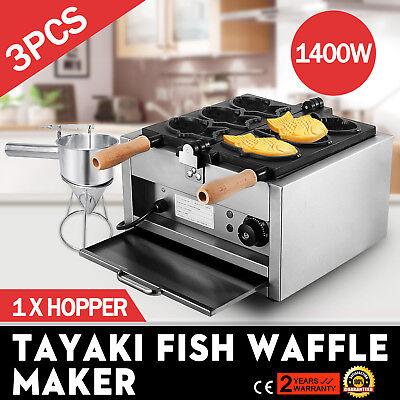Commerical Taiyaki Fish Waffle Maker Machine With Funnel Baker non-stick surface