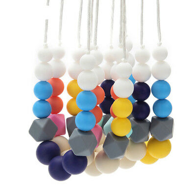 Hexagon Silicone Teething Necklace Teether Baby Chew Sensory Jewelry BPA Free