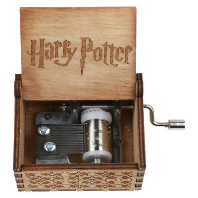 Vintage Handmade Engraved Wooden Harry Potter Music Box Christmas Craft Gift