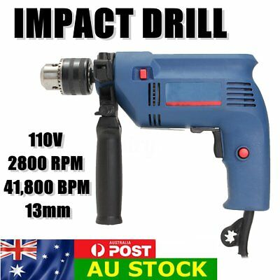 Electric Power Drill Impact 2800 RPM H/Duty 13mm Chuck V/Speed+Forward & Reverse