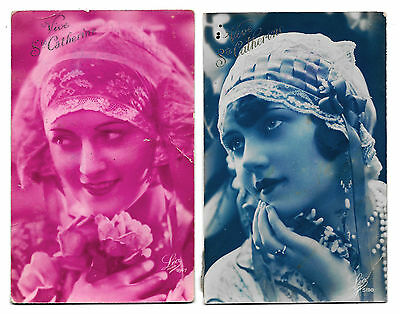 2 Cpa Aa01 Ste Catherine Art Deco Pin-Up Flapper Garconne Mode Coiffe Dentelle
