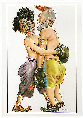 Cp Caricature Mustacchi Spectacle Boxe - Charlot Chaplin Cinema Ring Coup Cocard