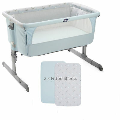 CHICCO SKY NEXT 2 ME SIDE SLEEPING CRIB WITH x2 FITTED SHEETS & AUTO PACK