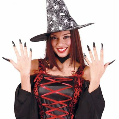 Long Black Witch Nails Self Adhesive Halloween Fancy Dress Accessory