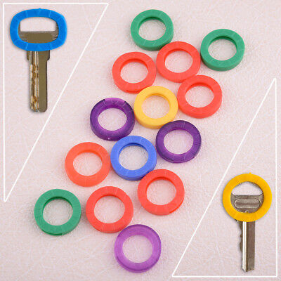 16x Mixed Color Silicone Key Cap Rings Covers Tags Key Identifier Identification
