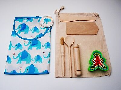 Children's Baking Set - includes; 5pc utensils, Cookie Cutter, Apron & Bag