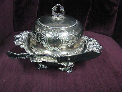 Meriden Brittania Victorian-Era 4-PC Covered Butter Server Dish made in Canada