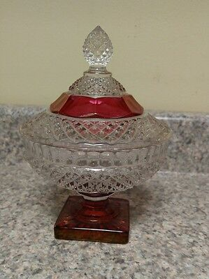Antique/Vtg Painted Ruby Red & Clear Sugar/Candy Dish & Cover ~ Carnival Glass?