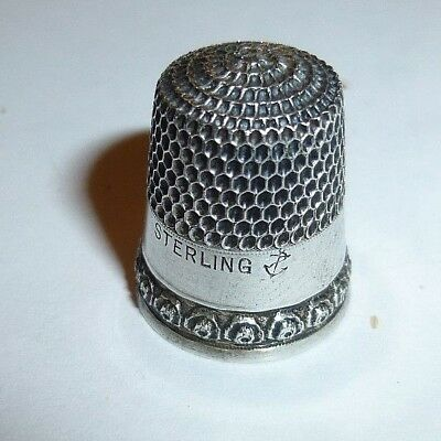 Rare Antique Stern Brothers Rose Rim Sterling Silver Thimble  Size 6