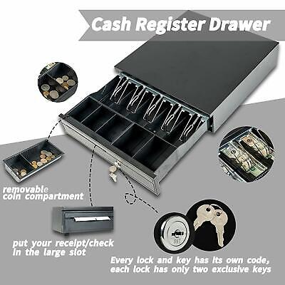 5Bill 5Coin Cash Drawer Box W/ Key Works Compatible Epson Tray POS Printers