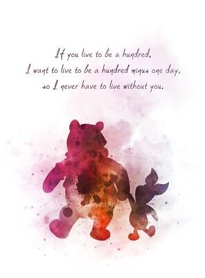 ART PRINT WINNIE the Pooh and Piglet Quote illustration, Wall Art, Gift,  Disney