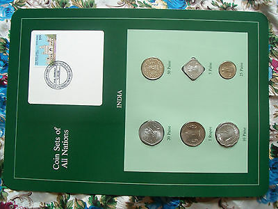 Coin Sets of All Nations India Green w/card 1974 - 1986 UNC 5 Paise 1986