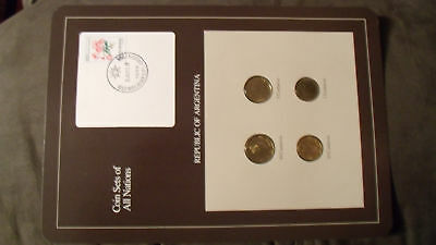Coin Sets of All Nations Argentina w/card 50, 10, 5, 1 Centavos 1987 UNC