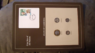 Coin Sets of All Nations Cambodia w/card 1994 UNC Bougainville stamp