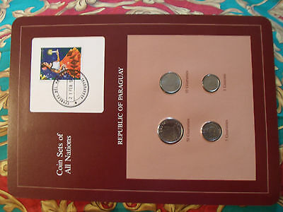 Coin Sets of All Nations Paraguay w/Card 1984-1986 UNC 1,10,50 Guaranies 1986