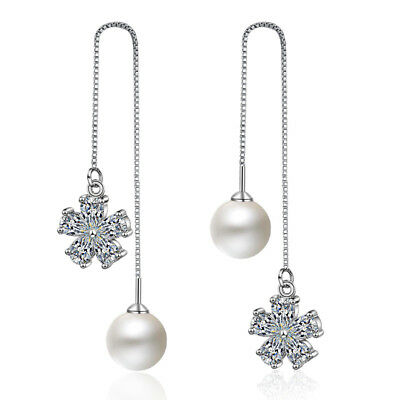 Women's 925 Sterling Silver CZ Zircon Flower Pearl Tassel Chain Dangle Earrings