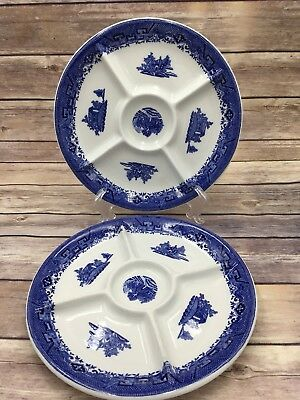 Shenango Oriental Blue Divided Sectioned Appetizer Tidbit Dinner Plate 9""