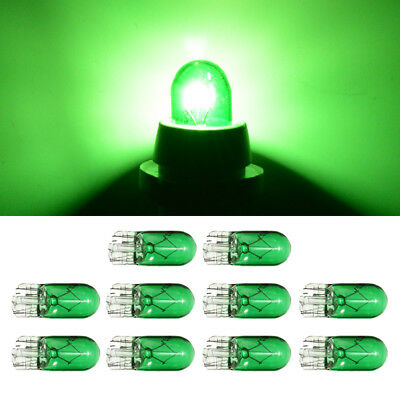 10pcs T10 501 W5W 3W Car Interior Dashboard Dash Panel Gauge Light Bulb Green