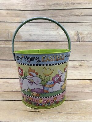 Mary Engelbreit Tin Easter Basket Pail Rabbits Easters on Its Way