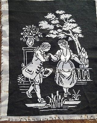VIntage 1930s Art Deco Hand Stitched tapestry - Romantic Dance Scene