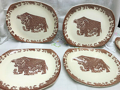 Vintage 1970's Staffordshire Ironstone Bull Beefeater Steak Plates Set Of Four