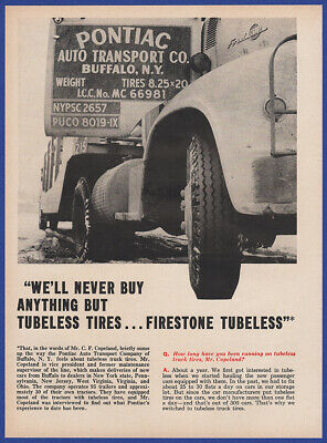 Vintage 1957 FIRESTONE Tubeless Tires Ford C-600 Truck Print Ad 50's