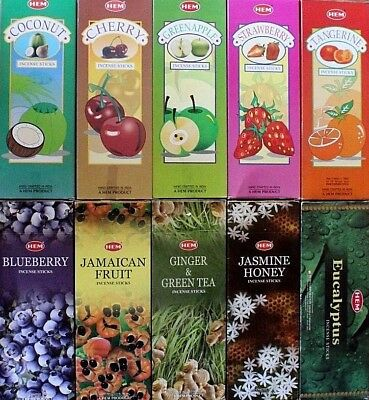 20 or 200 Sticks Incense 10 SCENTS CHOOSE or MIXED HEX Bulk Fruity Insence HEM