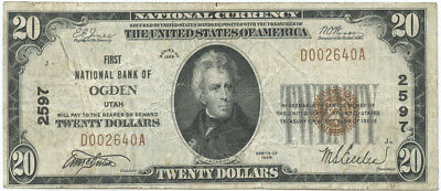 1929 $20 Banknote The First National Bank of Ogden, Utah Ch #2597