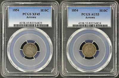Pair of 1854 Seated Liberty Half Dimes with Arrows, High and Low Dates -164900