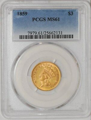 1859 $3 Gold Indian MS61 PCGS