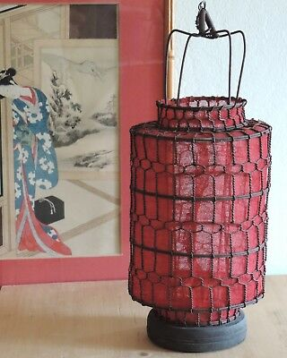 VTG Rustic Chinese Hand-Wired Lantern with Red Linen Cloth Lining, Wood Base