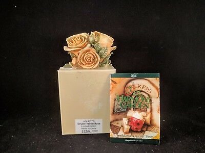 "Harmony Kingdom Lord Byron's Harmony Garden ""DOUBLE YELLOW ROSE"" MIB 3284/5000"