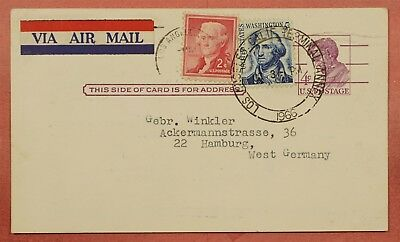 1966 Uprated Postal Card #ux48 Airmail Los Angeles Ca To Germany