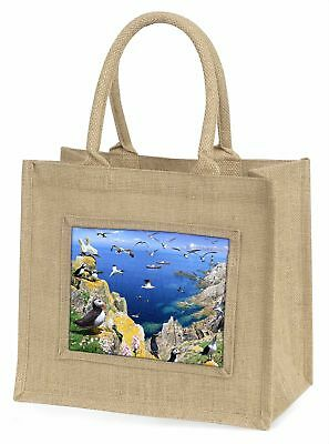 Puffins and Sea Bird Montage Large Natural Jute Shopping Bag Christmas, AB-93BLN