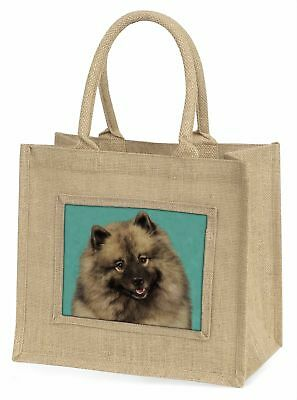 Keeshond Dog Large Natural Jute Shopping Bag Christmas Gift Idea, AD-KEE1BLN
