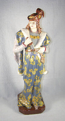 Large Circa 1870s French HB Choisy-le-Roi Majolica Pottery Royalty Figure