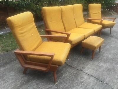 Retro Lounge Suite & Foot Stool Needs Restoration Great Xmas Holiday Project!!