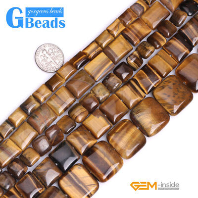 Natural Tiger's Eye Gemstone Square Diagonal Beads For Jewelry Making Strand 15""