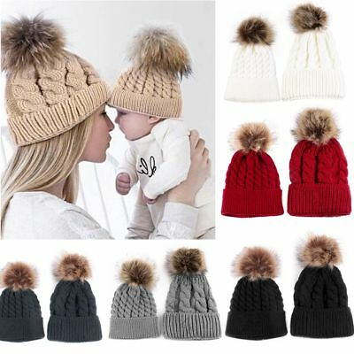 Mom&Newborn Baby Winter Warm Hats Fur Pom Pom Women Knit Beanie Bobble Hat Cap