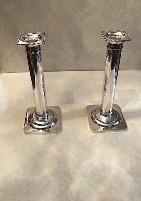 Sterling Silver Gorham Tall Candlesticks With Wreath And Ribbon Decoration