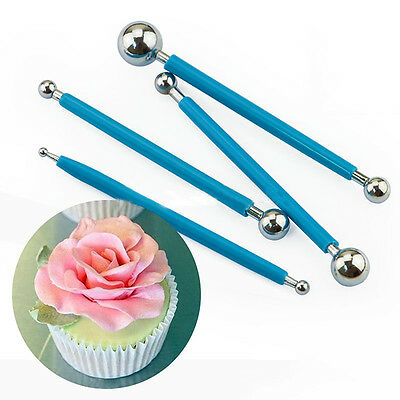 New 4PCS/Set Embossing Tool With Metal Ball Cake Decorating Tool Stainless