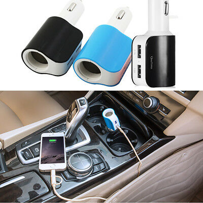 USB Car Charger Adapter with Cigarette Lighter Socket and Dual USB Charging Port