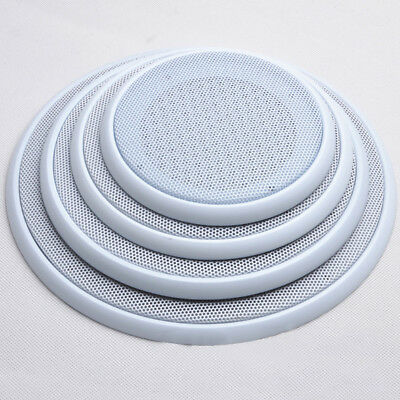 "White Universal 4""/5""/6.5""/8"" Subwoofer Speaker Metal Waffle Cover Guard Grill"