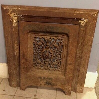 Vintage Cast Iron Fireplace Surround and Summer Cover