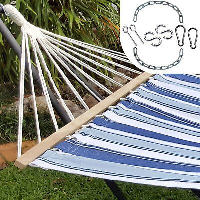 Large Blue and White Canvas Hammock with Spreader Bar + FREE Hanging Kit