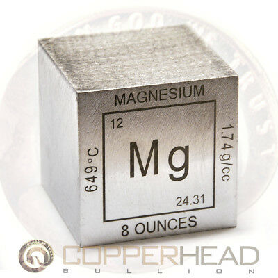 "2"" Inch 8 oz ounce (235g grams) .999 Fine Magnesium Bullion Cube Element"