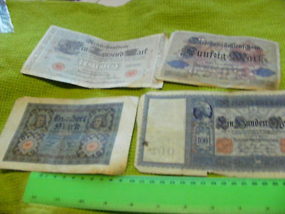Lot of 32 Genuine Very Old German Banknotes::.from 1910 to 1923, Vampire note.