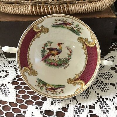Myotts Royal Crown England Double Handled Soup Bowl Chelsea Bird